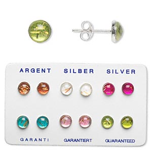 earring, sterling silver and resin, assorted colors, 10mm round with post. sold per pkg of 6 pairs.