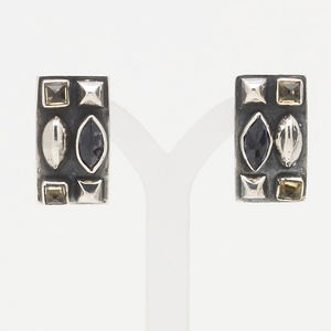 earring, sterling silver, citrine and iolite, 24x14mm rectangle clip-on. sold per pair.