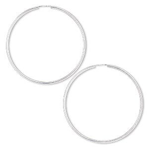 earring, sterling silver-filled, 65mm round hoop with endless-loop closure. sold per pair.