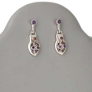 earring, sterling silver, garnet and amethyst, 34x13mm round post with dangle. sold per pair.
