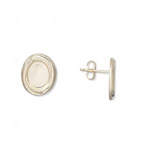 earstud, 14kt gold-filled, 12x10mm oval with 8x6mm oval bezel setting. sold per pair.