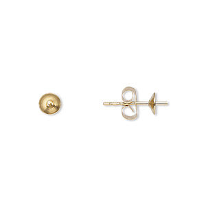 earstud, 14kt gold-filled, 4mm cup with peg, fits 4-6mm bead. sold per pkg of 5 pairs.