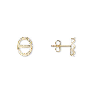 earstud, 14kt gold-filled, 9x7mm oval with 8x6mm oval setting. sold per pair.