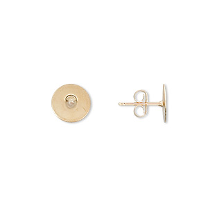 earstud, 14kt gold-filled post with 8mm gold-plated brass flat pad, 14kt gold-filled earnuts included. sold per pkg of 5 pairs.
