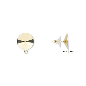 earstud, almost instant jewelry, plastic with gold-finished brass and steel, 16.5mm round with closed loop and 16mm rivoli setting. sold per pkg of 5 pairs.