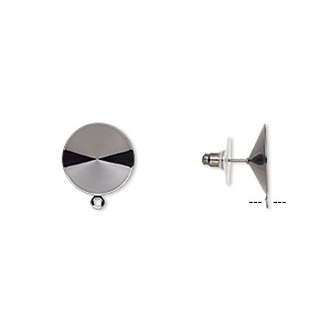 earstud, almost instant jewelry, plastic with gunmetal-finished brass and steel, 18.5mm round with closed loop and 18mm rivoli setting. sold per pkg of 5 pairs.