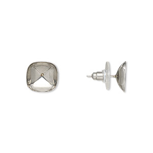 earstud, almost instant jewelry, stainless steel, 13x13mm with 12x12mm classical cushion setting. sold per pkg of 2 pairs.