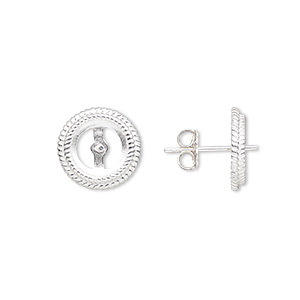 earstud, almost instant jewelry, sterling silver, 12mm round with 0.8mm peg and rope edge with 8mm round setting. sold per pair.