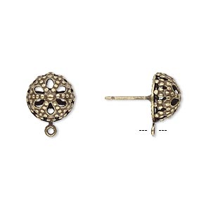 earstud, antique gold-plated brass and stainless steel, 10mm filigree dome with closed loop. sold per pkg of 5 pairs.