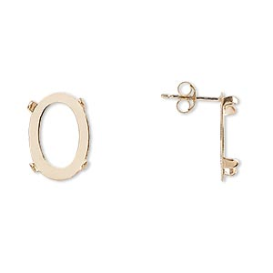 earstud, cab-tite™, 14kt gold, 14x10mm 4-prong oval setting. sold per pair.