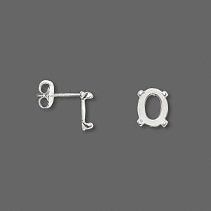 earstud, cab-tite™, sterling silver, 8x6mm 4-prong oval setting sold per pair.