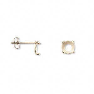 earstud, cab-tite™,14kt gold-filled, 6mm 4-prong round setting. sold per pair.