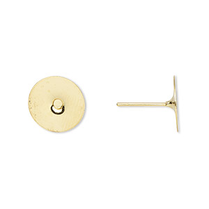 earstud, gold-plated brass, 10mm flat pad. sold per pkg of 50 pairs.