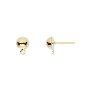 earstud, gold-plated brass and stainless steel, 6mm half ball with closed loop. sold per pkg of 250 pairs.