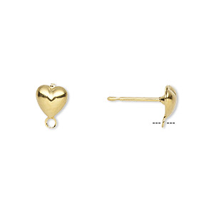 earstud, gold-plated brass and stainless steel, 6x6mm hollow fancy heart with closed loop. sold per pkg of 50 pairs.