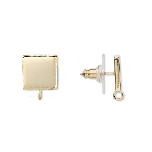 earstud, gold-plated steel and stainless steel, 10x10mm square with closed loop. sold per pkg of 2 pairs.