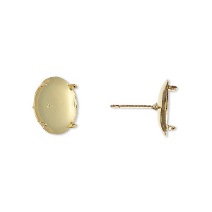 earstud, gold-plated steel and stainless steel, 13mm round flat pad with 12mm 4-prong round setting. sold per pkg of 50 pairs.