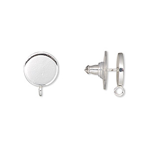 earstud, silver-plated steel and stainless steel, 10mm round with closed loop. sold per pkg of 2 pairs.