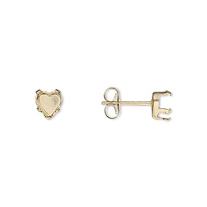 earstud, snap-tite, 14kt gold-filled, 5mm 5-prong heart setting. sold per pair.