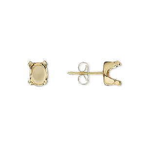 earstud, snap-tite, 14kt gold-filled, 7x5mm 4-prong oval setting sold per pair.