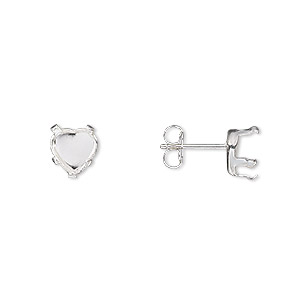 earstud, snap-tite, sterling silver, 6mm 5-prong heart setting. sold per pkg of 2 pairs.