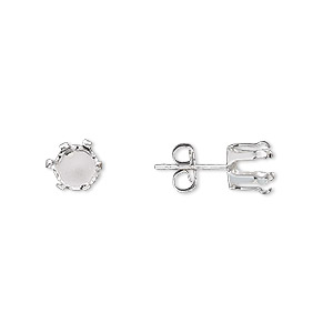 earstud, snap-tite, sterling silver, 6mm 6-prong round setting. sold per pair.