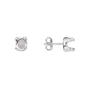 earstud, snap-tite, sterling silver, 7x5mm 4-prong oval setting. sold per pkg of 2 pairs.