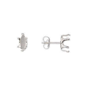 earstud, snap-tite, sterling silver, 8x4mm 6-prong marquise setting. sold per pkg of 2 pairs.
