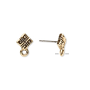 earstud, stainless steel and antique gold-plated pewter (tin-based alloy), 8x8mm diamond with square pattern and closed loop. sold per pkg of 2 pairs.