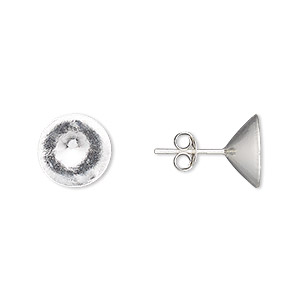 earstud, sterling silver, 11mm round with ss47 rivoli setting. sold per pair.