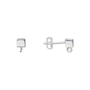 earstud, sterling silver, 4x4mm cube with open loop. sold per pair.