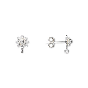 earstud, sterling silver, 7x7mm flower with closed loop. sold per pair.