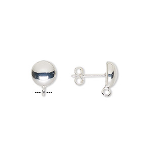 earstud, sterling silver, 8mm half-ball with open loop. sold per pair.