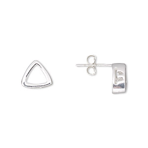earstud, sterling silver, 9x9x9mm smooth trillion with 6x6x6mm trillion setting. sold per pair.
