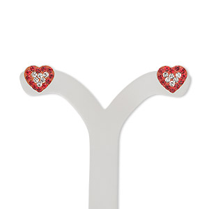 earstud, sterling silver and crystal, siam and clear, 9x8mm heart. sold per pair.