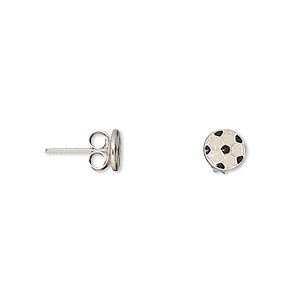 earstud, sterling silver and enamel, white and black, 6mm soccer ball. sold per pair.