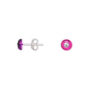 earstud, sterling silver and rhinestone, assorted colors, 5mm swirl shape. sold per pkg of 3 pairs.