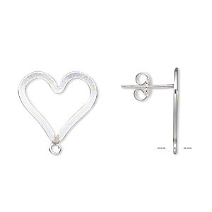 earstud, sterling silver-filled and sterling silver, 17x15mm flat open heart with closed loop. sold per pair.