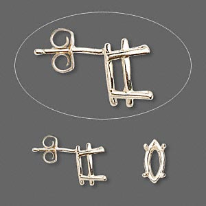 earstud, sure-set™, 14kt gold, 10x5mm with 4-prong marquise basket setting. sold per pair.