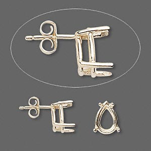 earstud, sure-set™, 14kt gold, 10x7mm with 4-prong pear basket setting. sold per pair.