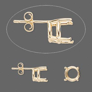 earstud, sure-set™, 14kt gold, 8mm with 4-prong round basket setting. sold per pair.