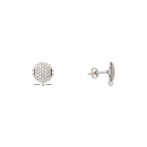 earstud, white topaz (natural) and sterling silver, 12x11mm beaded hexagon with open loop. sold per pair.