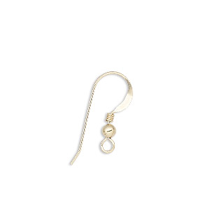 earwire, 14kt gold-filled, 17mm flat fishhook with 3mm ball and 2mm coil with open loop, 22 gauge. sold per pkg of 2 pairs.