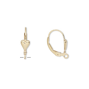 earwire, 14kt gold-filled, 17mm leverback with 6x5mm heart and open loop. sold per pair.