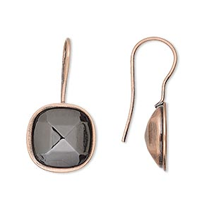 earwire, almost instant jewelry, antique copper-plated brass, 28x14mm fishhook with 12mm cushion setting, 20 gauge. sold per pkg of 2 pairs.