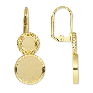 earwire, almost instant jewelry, gold-finished brass, 37mm leverback with 6mm and 12mm round setting, sold per pkg of 5 pairs.