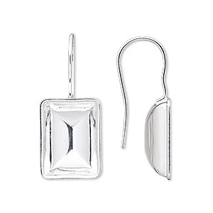 earwire, almost instant jewelry, silver-plated brass, 30x13mm fishhook with 14x10mm step-cut rectangle setting, 20 gauge. sold per pkg of 2 pairs.