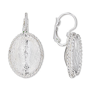 earwire, almost instant jewelry, silver-plated brass and pewter (zinc-based alloy), 32mm leverback with rope edge and 18x13mm oval setting. sold per pair.