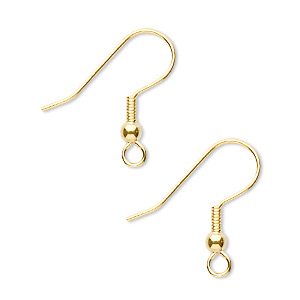 earwire, gold-finished stainless steel, 20mm fishhook with 3mm ball and 4mm coil with open loop, 21 gauge. sold per pkg of 50 pairs.