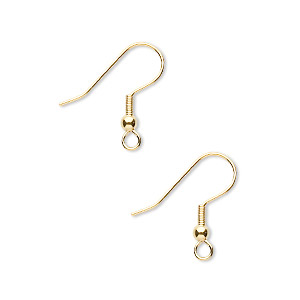 earwire, gold-finished stainless steel, 20mm fishhook with 3mm ball and 4mm coil with open loop, 21 gauge. sold per pkg of 500 pairs.